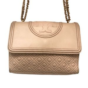 Tory Burch convertible leather quilted Fleming bag
